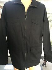 Men's Chaps Solid Black Zip Front Cotton Twill Lined Medium Weight Jacket Sz L