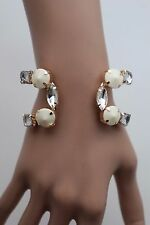 New Women Cuff Bracelet Gold Metal Fashion Jewelry White Bead Silver Rhinestones