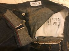 32/34 BLUE JEANS GUSTIN Men's Selvedge Denim Jeans~Sexy Button Fly~EXCELLENT~
