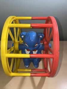 Vintage Tarco Toy Plastic Rolling Wheel Blue Bear Baby Toy- Sidney A. Tarrson Co