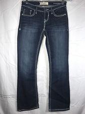 "Vigoss Size 1 2 Bootcut Legs Dark Denim Jeans Embroidered Pockets Low Rise 32"""