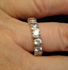 Seven Cubic Zirconia 3.0 tcw Eternity Ring in Sterling Silver Size 7 Free ship