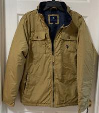 U.S. Polo Assn Mid-Weight Jacket Khaki Tan Hidden Hood Size L, XL - New!