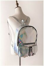 Tuladuo Women Hologram Leather Backpack Holographic Transparent HIGH QUALITY!