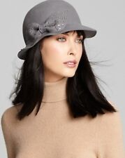 NWOT San Diego Hat Company Co. Women's Gray Wool Felt Cloche Beaded Bow Bowler