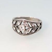 9901705  925er Silber Ring Jugendstil Swarovski-Steine Gr.54 floral