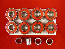 8 X ABEC 11 Scooter Bearings Red Shields