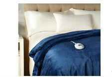 Perfect Fit Invisiwire Velvet Plush Heated King Blanket Navy