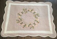 Quilted Floral Euro Pillow Sham Scalloped Edges Beige Cream