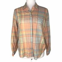 Liz Claiborne Sport Plaid Button Down Shirt Peach, Yellow, Blue Women's PS