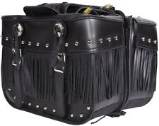 MEDIUM SIZE PV LEATHER MOTORCYCLE SADDLEBAGS w/FRINGE & STUDS UNIVERSAL FIT