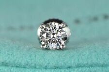 $3,810 Tiffany & Co Platinum 0.40ct VVS2 Round Diamond Solitaire Single Earring
