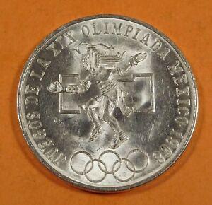 1968 MEXICO 25 PESOS OLYMPICS MEXICO CITY - Silver - UNC.