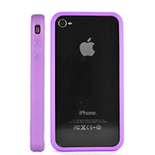 COVER BUMPER + PELLICOLA DISPLAY PER APPLE IPHONE 4 4S VIOLA SLIM SOTTILE CASE