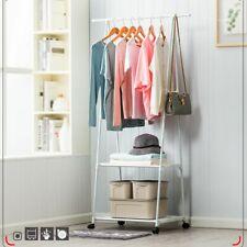 Rolling Clothes Holder Rack Hanger Shelf Garment Bar Heavy Duty Stand Organizer