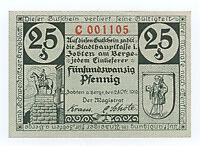 Zobten a. Berge 1919 Notgeld Gutschein 25 Pfennig Nr. C 001105 G1/164