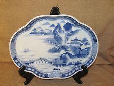 Antique Asian Oriental Blue & White Porcelain Dish Signed