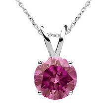 "0.60 Carat Pink RD 14K WG Solitaire Valentine Day Special Necklace 18"" Chain"