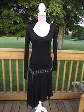Plein Sud Jeans Sz 8 Art Black Hook & Eye Funky Dress Shrug Sweater One Arm MINT
