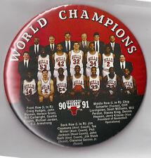 "1990-91 Chicago Bulls World Champions 6"" button Michael Jordan Scottie Pippen"