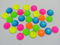 200 Mixed Neon Color Flatback Acrylic Round Rhinestone Gems 8mm No Hole