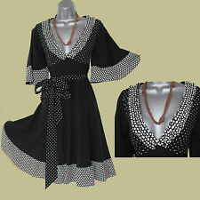 Karen Millen Black White Dots Print Kimono Sleeve Silk Casual Dress UK 8  EU 36