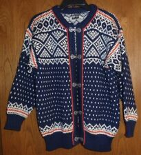 DALE of NORWAY - NAVY, RED & WHITE FAIR-ISLE WOOL CARDIGAN SWEATER – MISSES S/40