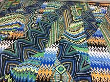 """Colorful Print Green 4 Way Stretch Heavy Weight Poly Lycra Fabric 58"""" W BTY"""