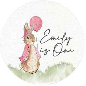 24 Glossy Personalised Flopsy Bunny Stickers For Party/Sweet Cone Bags 45mm Diam