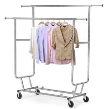 Garment Rolling Rack Double Rail Clothing jacket Retail Display Hanger hotel bar