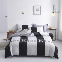3D Black And White Stripes Kiss KEP199 Bed Pillowcases Quilt Duvet Cover Kay