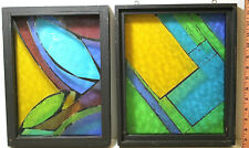 2 Vintage Stained Glass Suncatcher Mobiles Custom Hand Made Wooden Frames Nice!!