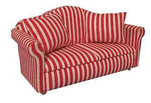 """DOLLS HOUSE 1/12 SCALE RED AND WHITE """"LARGE STRIPE"""" SOFA"""