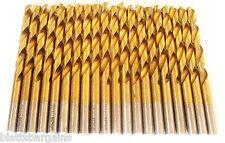 """20 HITACHI TITANIUM 1/4"""" HIGH SPEED STEEL DRILL BITS METAL GOLD HSS"""