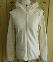 Merrell Womens S Jacket Off White Quilted Fleece Soft Hooded Full Zip Athletic