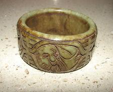 Antique Carved Green Jade BUDDHA Bangle Bracelet * Brings Good Luck Fortune 200g
