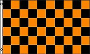 3X5 Advertising Checkered Checker Orange Black Flag 3'x5' Halloween No Fade