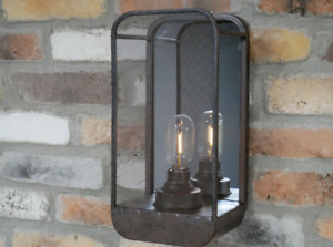 Wall Lamp Light With Mirror Industrial Style Metal Glass Battery Operated Home