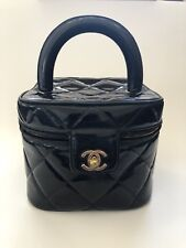 Auth CHANEL CC Quilted Cosmetic Bag Vanity Black Patent Leather
