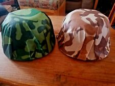 2 GREENBRIER Plastic Camouflage Costume Play HELMETS; GREEN/BROWN; ARMY Toy HATS