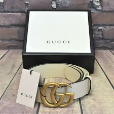 Womens Gucci White Leather Double G Antiqued Brass With Shiny Finish RRP. £330!