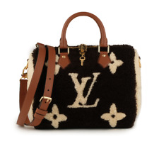 LOUIS VUITTON Speedy Monogram Teddy Shearling 25 Bandouliere Brown and White Bag