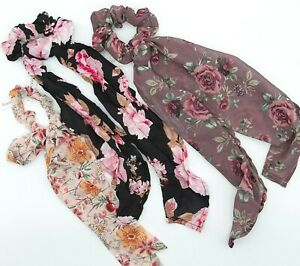 New Francesca's Scrunchies Hair Accessories Pony Tail Scarf Lot of 3 Flowers