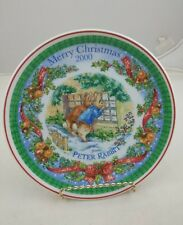 "WEDGEWOOD  Peter Rabbit 8"" Merry Christmas Decorative plate 2000 Beatrix Potter"