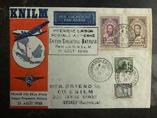 1938 Saigon Vietnam First Flight Cover to Singapore Batavia KNILM 300 Flown FFC