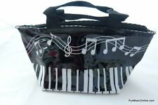 Music Themed Stylish Musical Keys and Notes Cosmetic Large Base Vinyl Zipper Bag