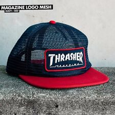Thrasher Magazine UNSTRUCTURED MAG PATCH MESH Snapback Skateboard Hat NAVY/RED