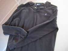 MENS Genuine Ralph Lauren POLO SHIRT Solid Black Long Sleeve Sz Large L Used