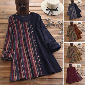 Women Long Sleeve Stripe Shirt Top Ethnic Patchwork Casual Loose Blouse Pullover