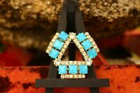 BROOCH vintage Cz in excellent condition white and blue crystals